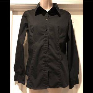 NY&CO Women's Long Sleeve Black Blouse